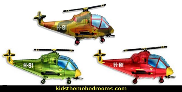 helicopter balloons  army party decorations - Camouflage Party Supplies - army party ideas - Military party ideas for a boy birthday party - Army & Camouflage decorations - army party decoration ideas - army themed party - army costumes - Army Camo Party Supplies -