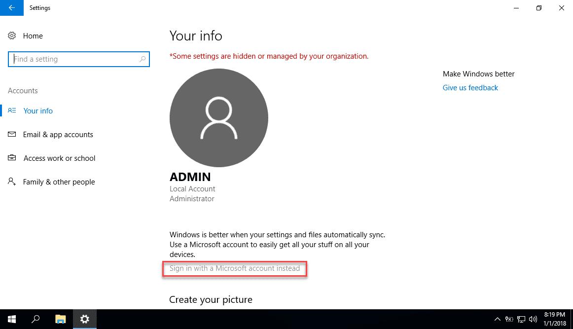Chặn người dùng thêm tài khoản Microsoft mới trong Windows 10