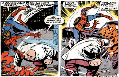 Amazing Spider-Man #70, john romita, jim mooney, the kingpin and spider-man fight in the street