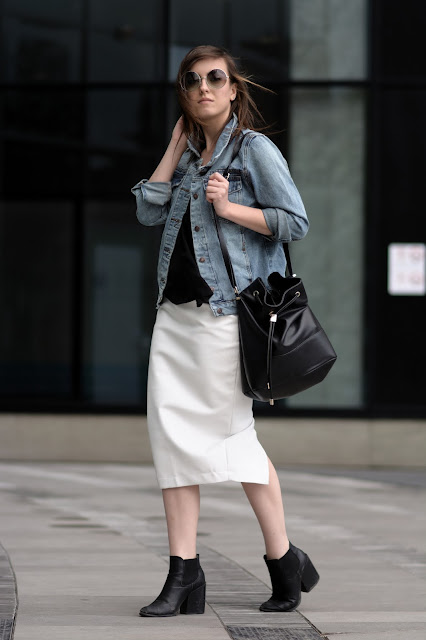jacket jeans denim white skirt style fashion ootd blogger