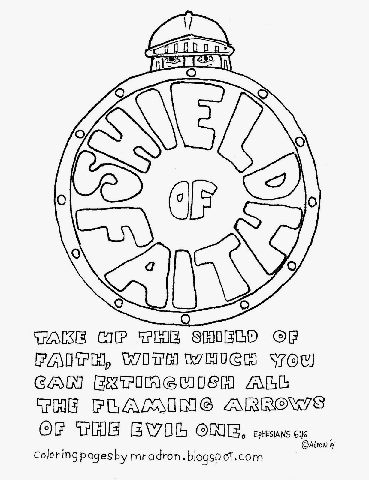 An illustration of Ephesians 6:16 to print and color.