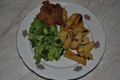 snitel, cartofi la cuptor