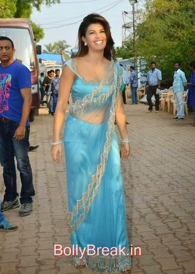 Jacqueline Fernandez images, Jacqueline Fernandez Hot Pics In Blue Saree from Roy Movie Promotions On Big Boss 8
