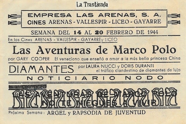 Programa de Cine - Las Aventuras de Marco Polo - Gary Cooper - Sigrid Curie - Lana Turner
