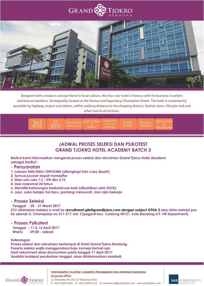 Lowongan Kerja Hotel Grand Tjokro Bandung