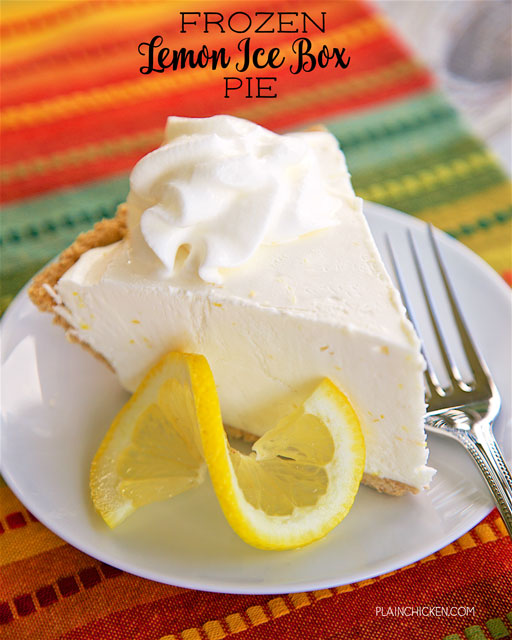 Frozen Lemon Ice Box Pie - only 4 ingredients! A store-bough..