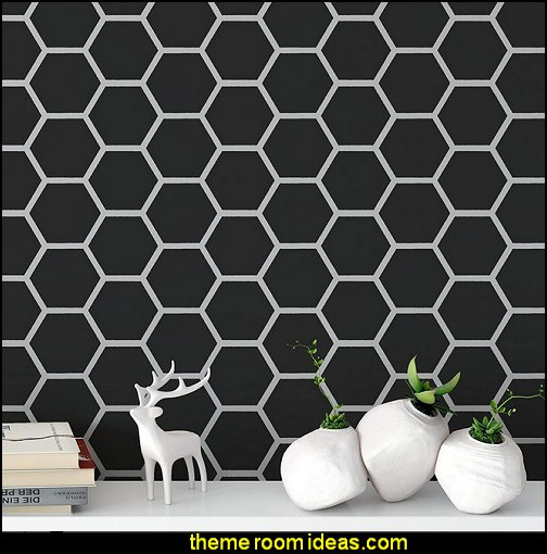 Honeycomb Stencil - Reusable Wall Stencil Pattern for Home Decor  bumble bee bedrooms - Bumble bee decor - Honey bee decor - decorating bumble bee home decor - Bumble Bee themed nursery - bee wallpaper mural decals - Honeycomb Stencil - hexagonal stencils - bees in springtime garden bedroom -  bee themed nursery - black yellow bedroom ideas