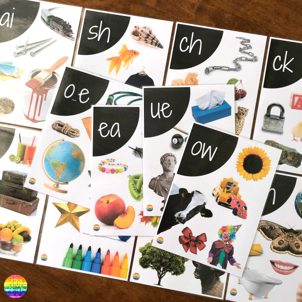 Printable Digraph Wall Posters - 32 full colour posters using real life photos to help learn all the digraphs | you clever monkey