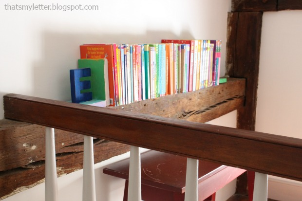 loft space reading nook farmhouse beams