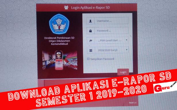gambar aplikasi erapor sd semester 1 2019-2020