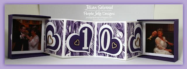 Anniversary concertina box card, Elegant Eggplant