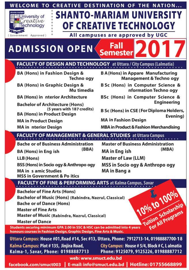 Shanto-Mariam University of Creative Technology Admission Fall 2017