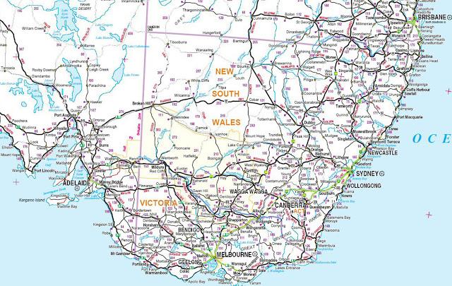Austrália Canberra region map