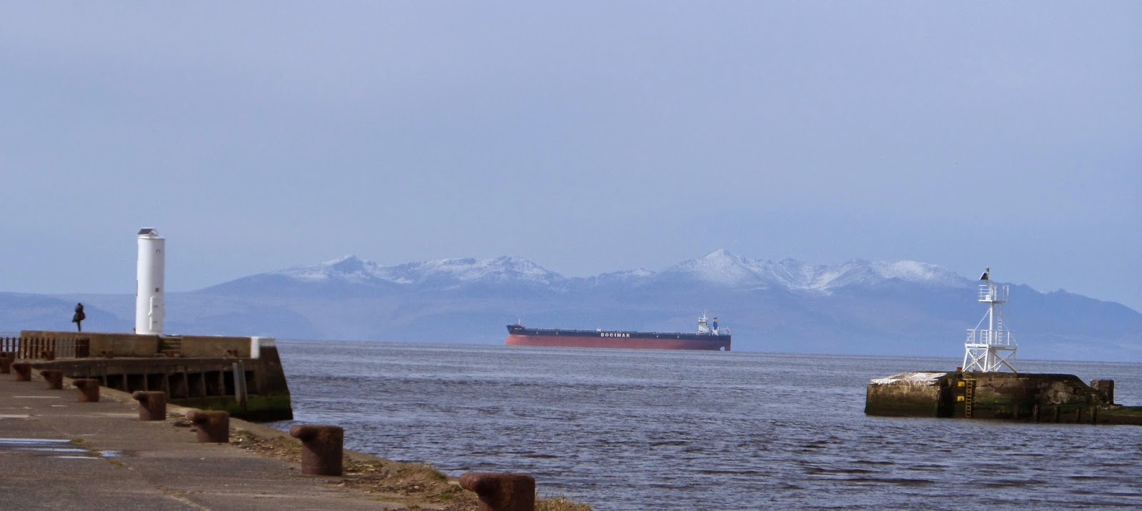 Arran with snow topped peaks