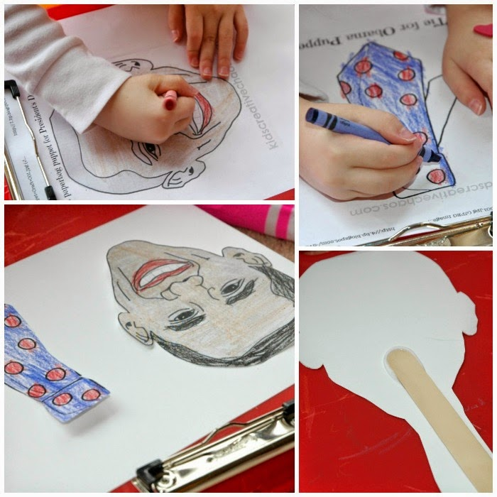 President Obama craft for Black History Month theme for homeschool preschool