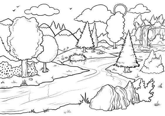 Tranh tô màu phong cảnh suối và rừng