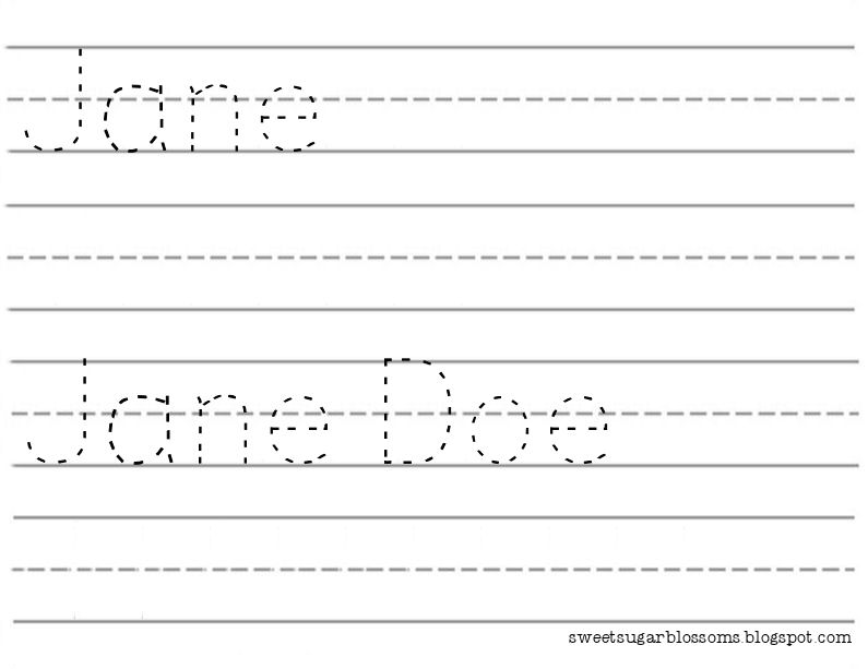 Sweet sugar blossoms name tracer template for Free printable name tracing templates