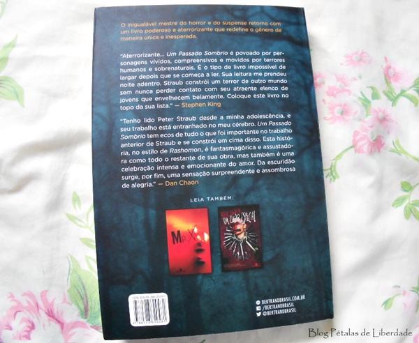 contracapa, capa, Resenha, livro, Um passado sombrio, Peter Straub, bertrand brasil, fotos, trecho, capa, opiniao, critica, livro-de-terror,