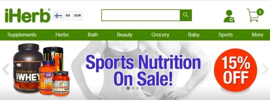 iherb tarjoaa 15% lisäalennuksen proteiineista ja muista urheilu lisäravinteista