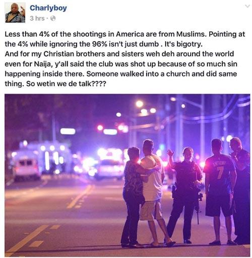 Charly Boy speaks on Orlando nightclub shooting