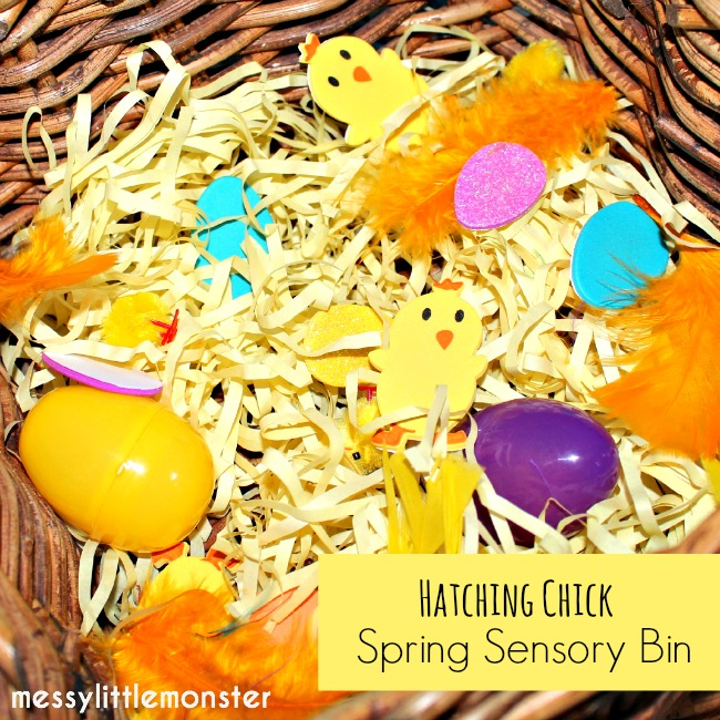 Easter egg and chick spring sensory bin activity for toddlers and preschoolers.