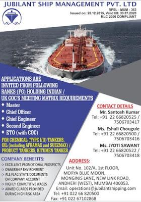 Hiring Master, C/O, C/E, 2/E, ETO For Tanker Ship