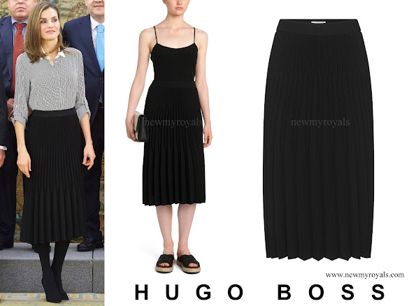 Queen Letizia wore HUGO BOSS Vikina Flared pleated skirt