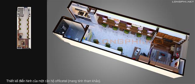 Thiết kế điển hình của một căn hộ officetel - nơi ở và làm văn phòng.
