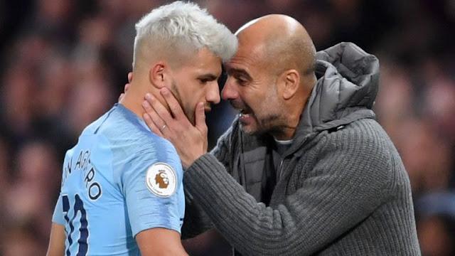 Sergio Aguero & Pep Guardiola Manchester City