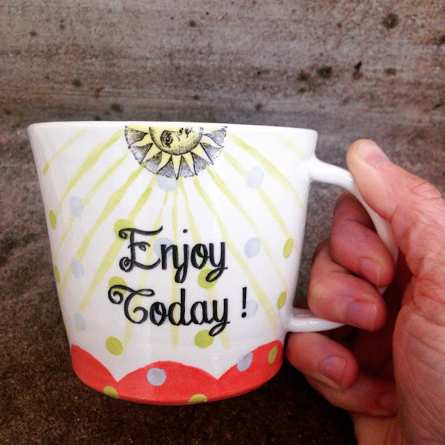 Enjoy Today ceramic decal sun mug