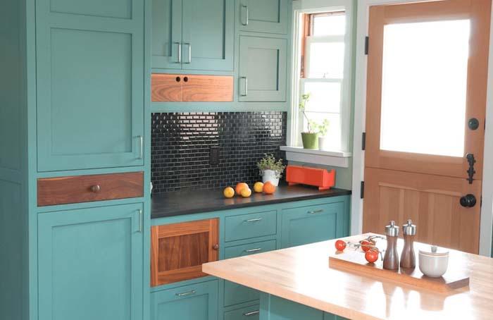 pastel yeşil mutfak dolapları