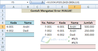 error #N/A solution in Excel