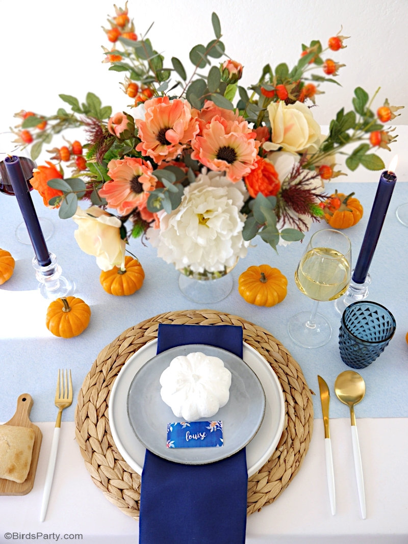 A Blue and Orange Thanksgiving Table