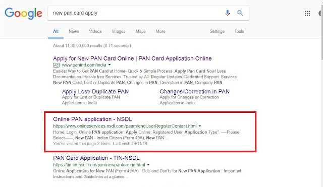 apply pan card online in NSDL