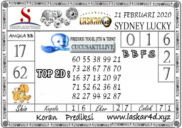 Prediksi Sydney Lucky Today LASKAR4D 21 FEBRUARI 2020
