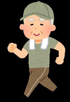 ウォーキングをするお爺さんのイラスト(帽子付き)