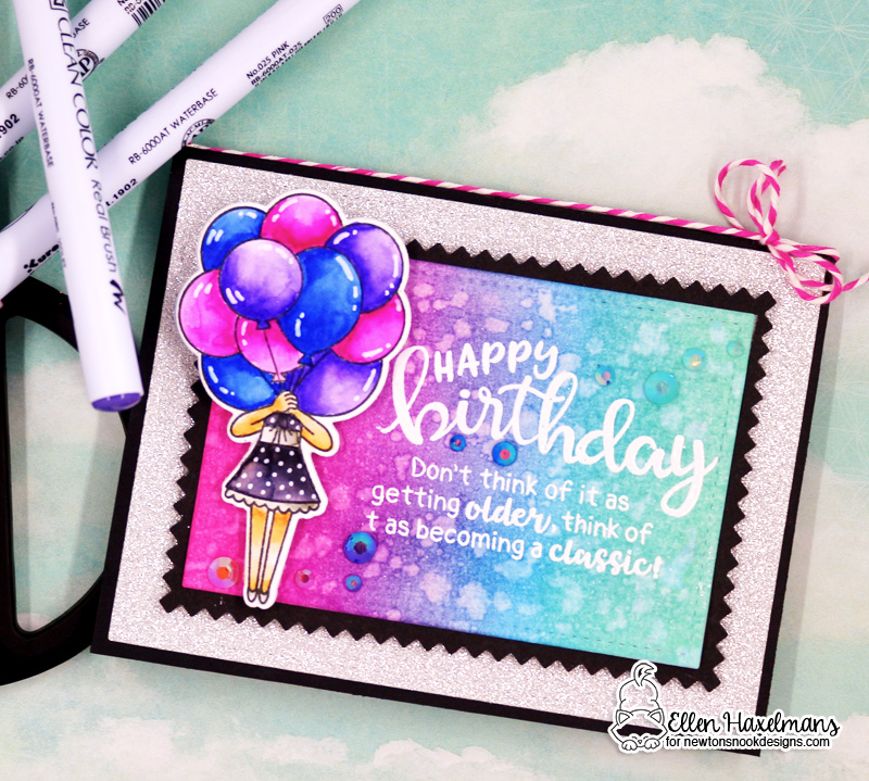 Birthday card by Ellen Haxelmans | Holding Happiness and Birthday Essentials Sentiment Stamp Sets by Newton's Nook Designs #newtonsnook #handmade