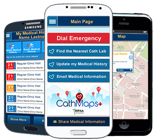 As medical technology goes mobile, the CathMaps+ app can provide emergency assistance for people with elevated risks of cardiac incidents.