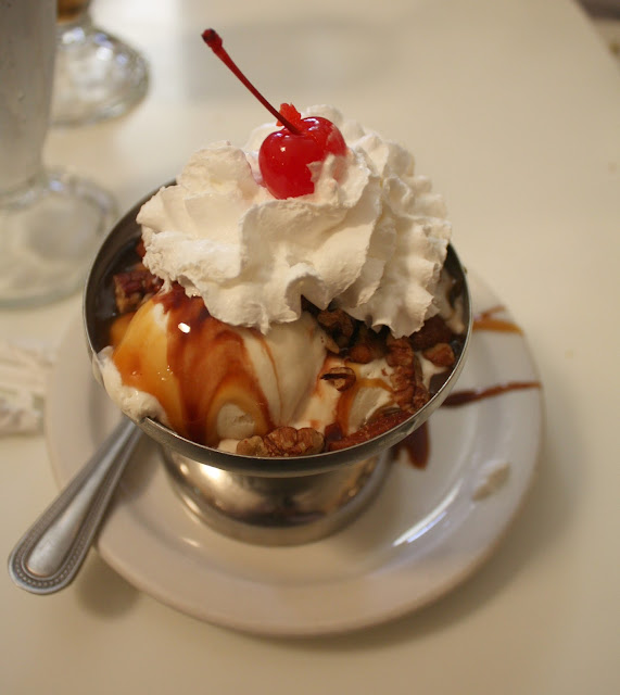 Turtle sundae at Lagomarcino's