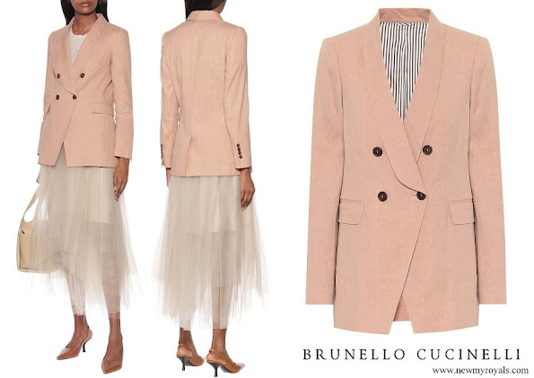 Princess Charlene wore Brunello Cucinelli linen and cotton blazer