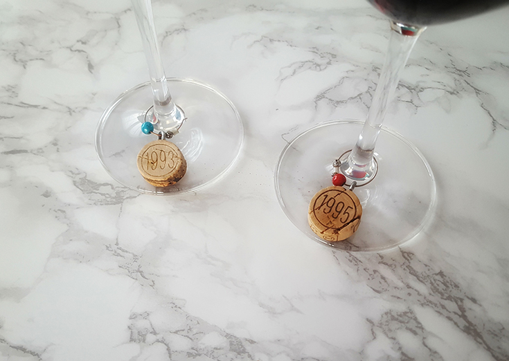 wine corks charms markers beads glass