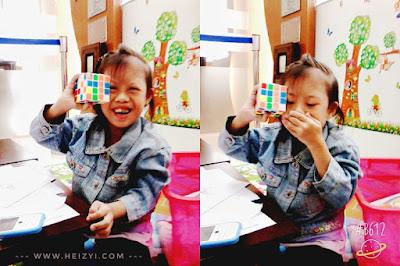 Nia Belajar Sambil Bermain Rubik di Playground KCU BCA Pasuruan