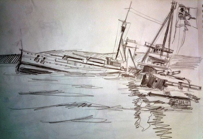 Boceto de pintura hyndimiento Scapa Flow 3
