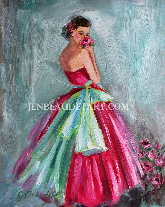 Jen Beaudet Art New Pink Fancy Lady Painting
