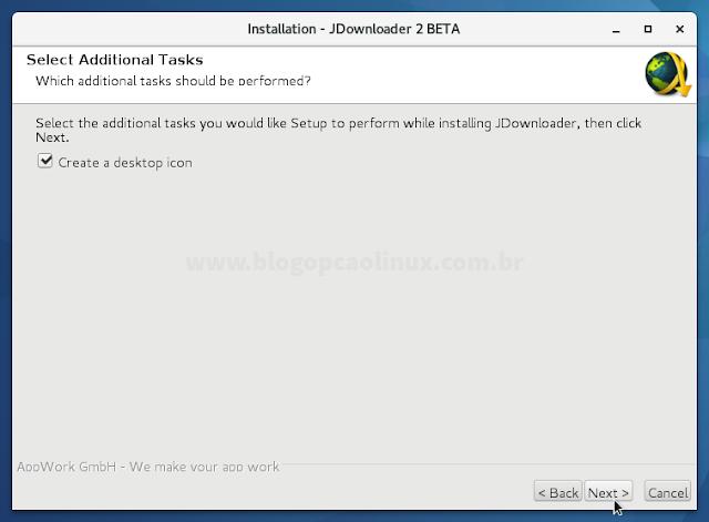 """Deixe marcado a opção """"Create a desktop icon"""" e clique em """"Next"""""""