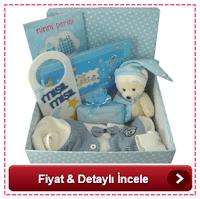 Puantiyeli kutuda dolu dolu bebek hediyesi- erkek bebek