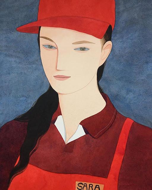 Kelly Beeman arte | dibujo en acuarela de mujer trabajadora fast-food