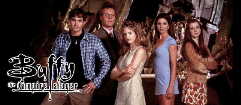 Group shot of actors portraying Buffy, Xander, Willow, Cordelia, and Giles from Season One, with the show's logo