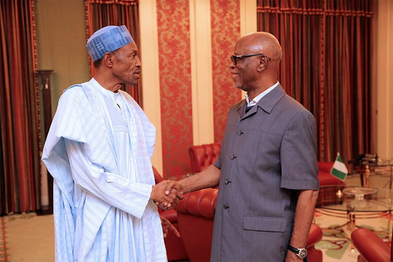 Photos: Oyegun meets President Buhari in Aso Rock over Tinubu feud