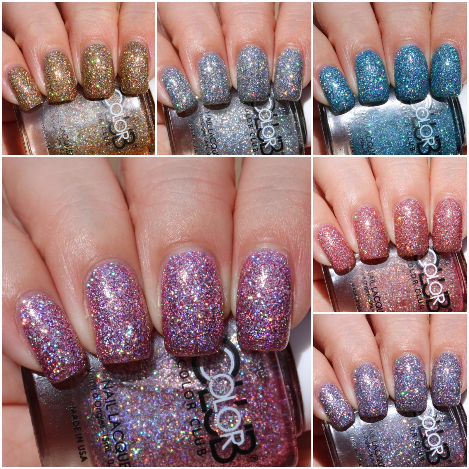 Color Club Holographic Nail Polish Swatches: Olivia Jade Nails: Color Club Hypnotic Hologram Collection
